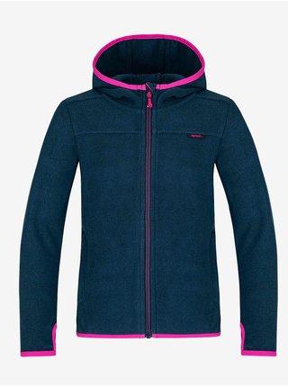 Růžovo-modrý holčičí svetr na zip s kapucí LOAP Qwaro