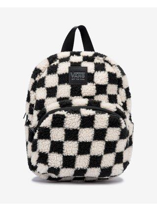 Černo-bílý dámský batoh z umělého kožíšku VANS Checkboard