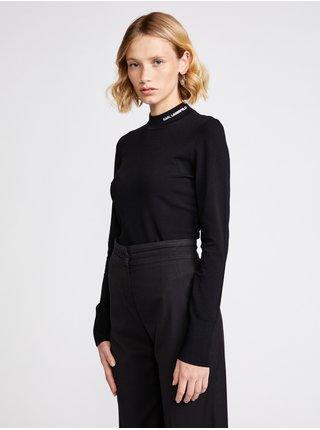 Tričká s dlhým rukávom pre ženy KARL LAGERFELD - čierna