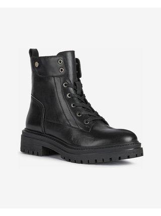 Černé dámské kožené boty Geox Iridea