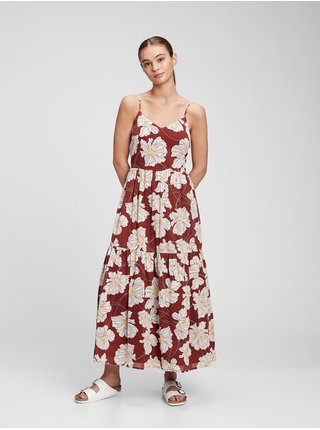 Červené dámské šaty cami v-neck maxi dress GAP
