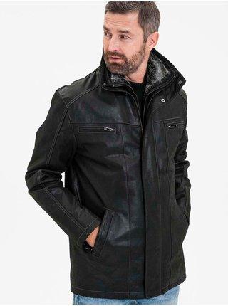 Černá pánská kožená zateplená bunda KARA Antwerpen