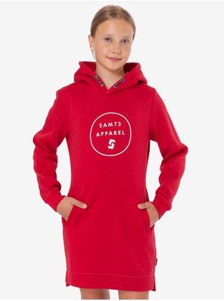 Červená dievčenská dlhá mikina s potlačou a s kapucou SAM 73 Josie