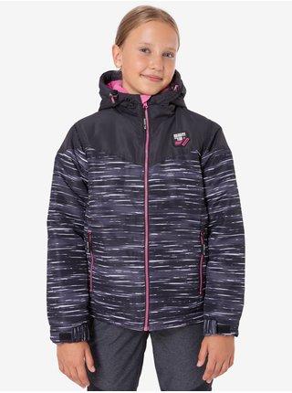 Růžovo-černá holčičí žíhaná zimní bunda s kapucí SAM 73 Thia