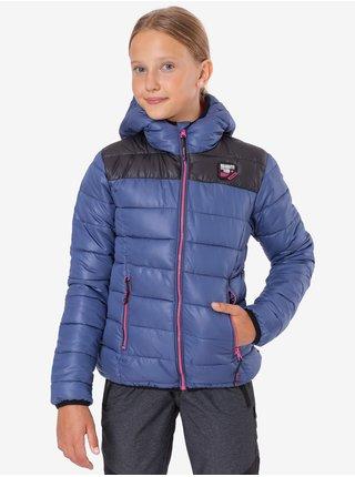 Černo-modrá holčičí prošívaná zimní bunda s kapucí SAM 73 Eloise