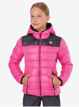 Černo-růžová holčičí prošívaná zimní bunda s kapucí SAM 73 Eloise