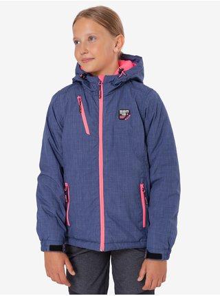 Růžovo-modrá holčičí zimní bunda s kapucí SAM 73 Giselle