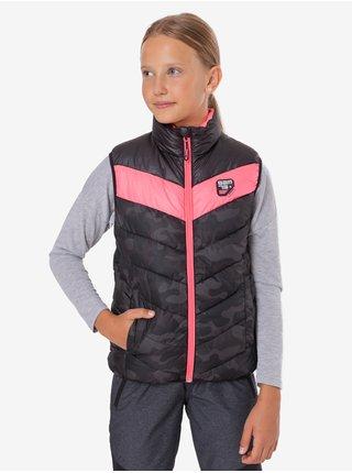 Růžovo-černá holčičí prošívaná army vesta SAM 73 Pauline