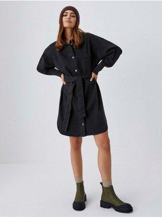 Černé dámské košilové šaty se zavazováním Moodo