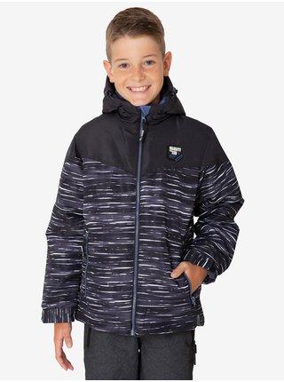 Čierna chlapčenská žíhaná zimná bunda s kapucou SAM 73 Luke