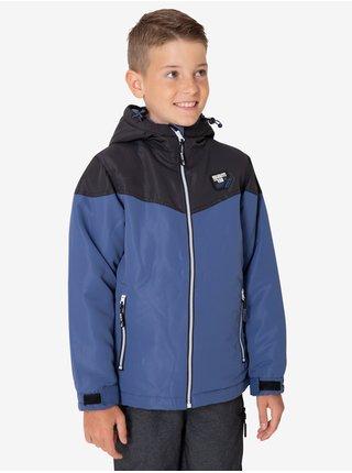Černo-modrá klučičí zimní bunda s kapucí SAM 73 Luke