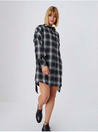 Černé dámské košilové kostkované šaty Moodo