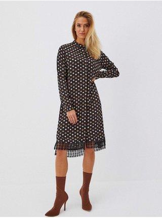 Černé dámské puntíkované šaty Moodo