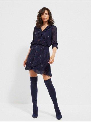 Tmavě modré dámské vzorované šaty Moodo
