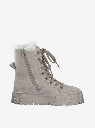 Béžové kožené zimní boty Tamaris