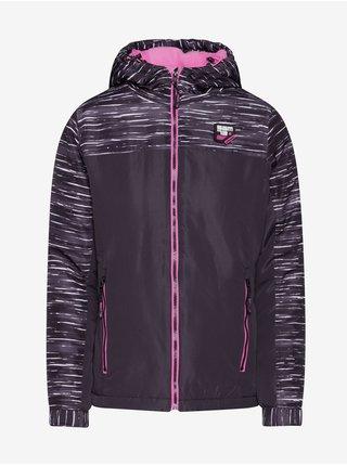 Růžovo-černá dámská žíhaná zimní bunda SAM 73