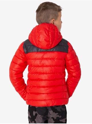 Čierno-červená chlapčenská prešívaná zimná bunda s kapucou SAM 73 Karl