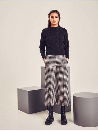 Černo-krémové dámské kostkované kalhoty ICHI