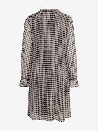 Čierno-krémové kockované šaty ICHI