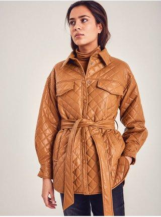 Hnedý dámsky lesklý kabát ICHI