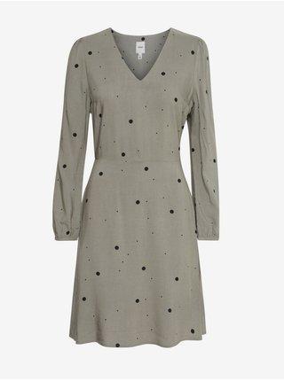 Šedé dámske bodkované šaty ICHI