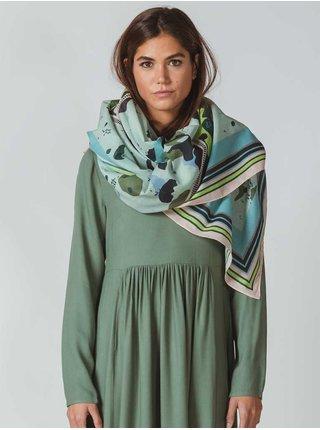 Modro-zelený dámský vzorovaný šátek SKFK