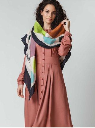 Černo-bílo-zelený dámský vzorovaný šátek SKFK