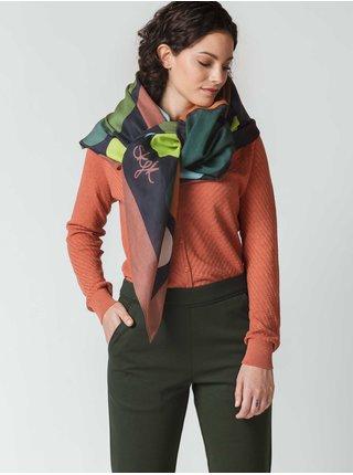 Zeleno-modrý dámský vzorovaný šátek SKFK