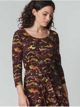 Hnědé dámské vzorované dlouhé šaty SKFK