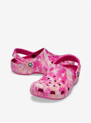 Bielo-ružové unisex šľapky Crocs Classic Bleach Dye Clog