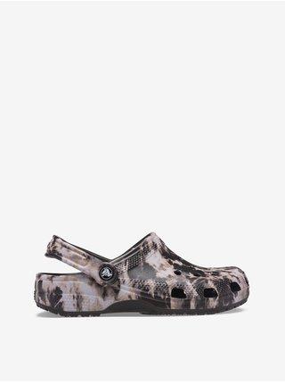 Bílo-černé unisex pantofle Crocs Classic Bleach Dye Clog