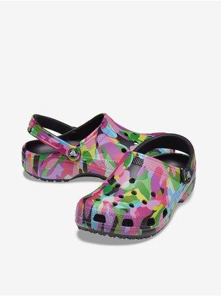 Růžovo-zeleno-černé unisex pantofle Crocs Classic Bubble Block Clog