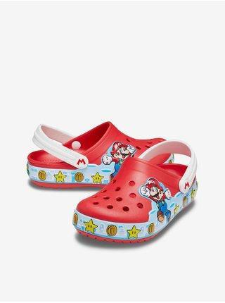 Červené dětské pantofle s motivem Crocs FL Super Mario Lights CgK