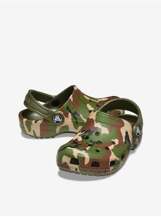 Hnědo-zelené dětské vzorované pantofle Crocs Classic Printed Clog K