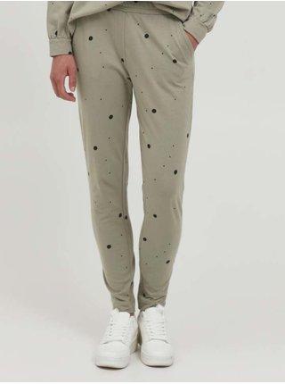 Svetlozelené dámske bodkované nohavice ICHI