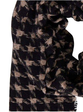 Čierno-béžový kockovaný šál ICHI