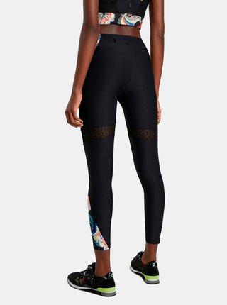 Čierne dámske športové vzorované legíny Desigual Calix