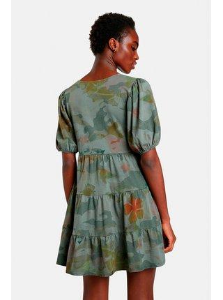 Kaki dámske kvetované šaty Desigual Cam