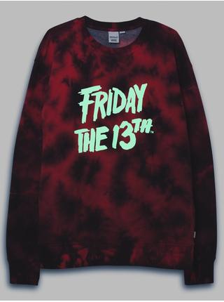 Černo-červená dámská vzorovaná mikina s potiskem VANS Friday the 13th