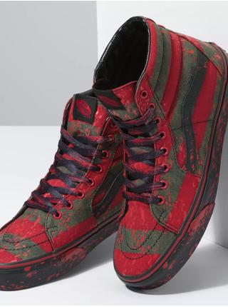 Zeleno-červené unisex vzorované kotníkové tenisky VANS Nightmare