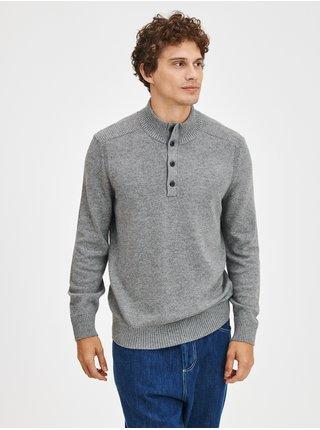 Šedý pánský svetr Pletený warmest button GAP