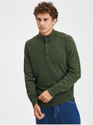 Zelený pánský svetr Pletený warmest button GAP