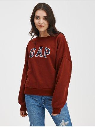 Červená dámská mikina Kratší drop logo GAP