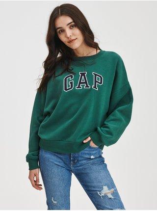 Zelená dámská mikina Kratší drop logo GAP