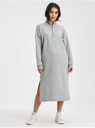 Šedé dámské mikinové šaty na zip midi GAP