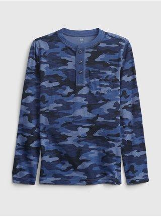 Modré klučičí tričko long sleeve henley GAP