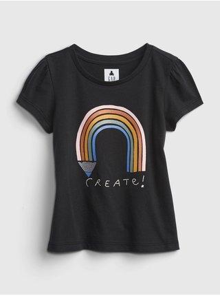 Černé holčičí tričko short sleeve graphic GAP