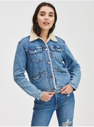 Modrá dámská džínová bunda Zateplená sherpa GAP
