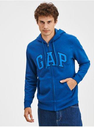 Modrá pánská mikina s logem a kapucí GAP