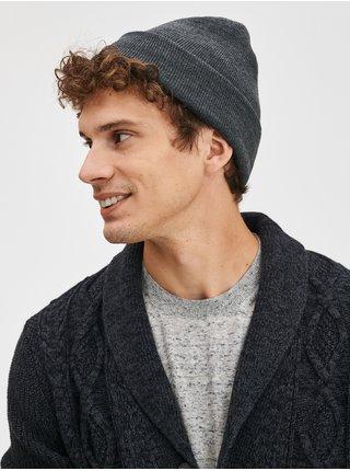 Šedá pánská čepice Jednobarevná pletená čepice GAP